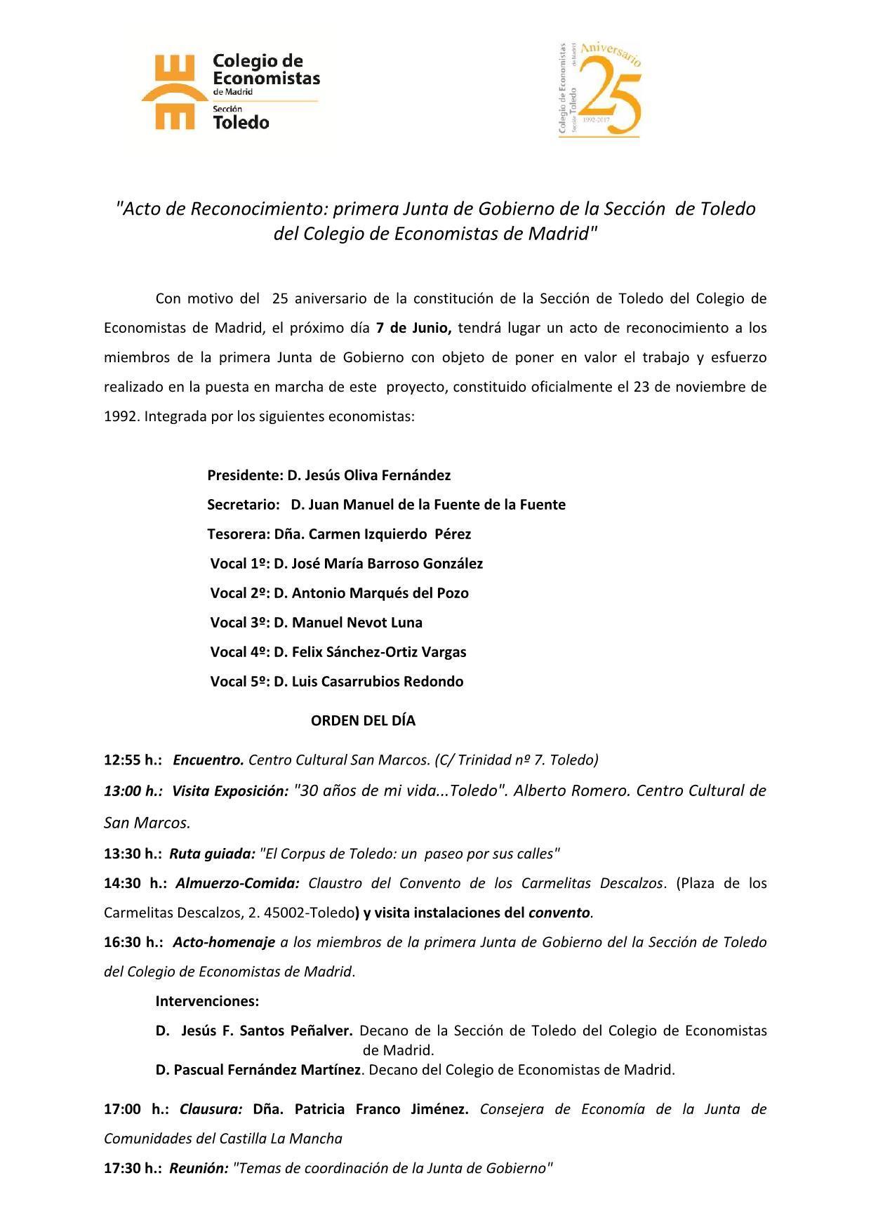 Programación Acto Sección Toledo. (XXV Aniversario). 7 de junio_1 ...