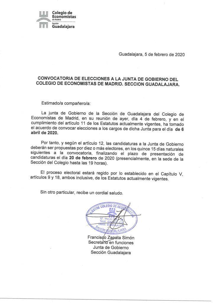 Convocatoria de Elecciones. Sección de Guadalajara